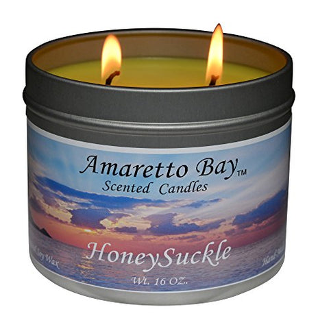 Amaretto Bay Soy Wax Scented Candles 16Oz Aromatherapy Travel Tin (Honeysuckle)
