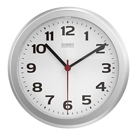 Lamiko Noiseless Indoor/Outdoor Decorative Wall Clock Universal Non-Ticking & Silent 10-Inch Wall Clock ,Silver