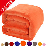 Shilucheng Fleece Soft Warm Fuzzy Plush Lightweight Throw (60-Inch-By-43-Inch) Couch Bed Blanket, Orange