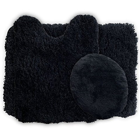 Lavish Home 3-Piece Super Plush Non-Slip Bath Mat Rug Set, Black