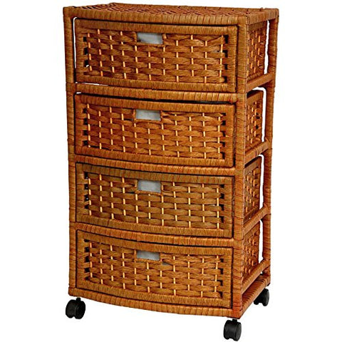 Oriental Furniture 29 Natural Fiber Chest Of Drawers - Honey