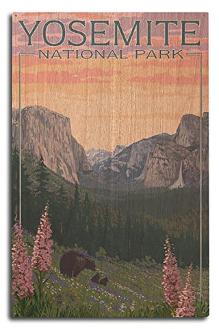 Yosemite National Park, California - Bear And Cubs With Flowers (10X15 Wood Wall Sign, Wall Decor Ready To Hang)