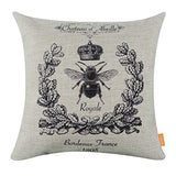 Linkwell 18X18 Black Queen Bee With Crown Burlap Cushion Covers Pillow Case