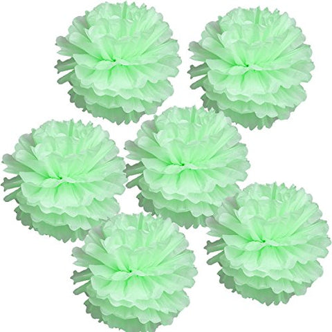 Landisun Exclusive Tissue Paper Flower Poms For Wedding Birthday Room Decoration (10 Inches , Mint Green)