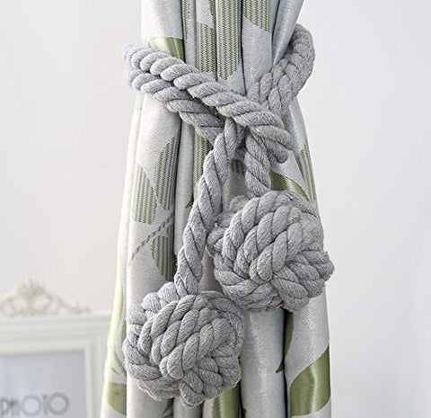 Loghot Fine Hand Tied Curtain Clip Drapery Tassels Curtain Tiebacks/Tassel Window Cotton Rope Tie Ball Back Accessories 47.2 Inches (Grey)