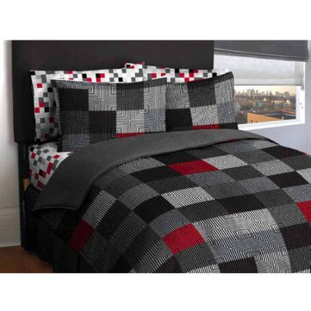 Latitude Teen America Bordered Geometric Red, Black Blocks Reversible Solid Gray Bedding Queen Comfort Set For Boys (5 Piece In A Bag)