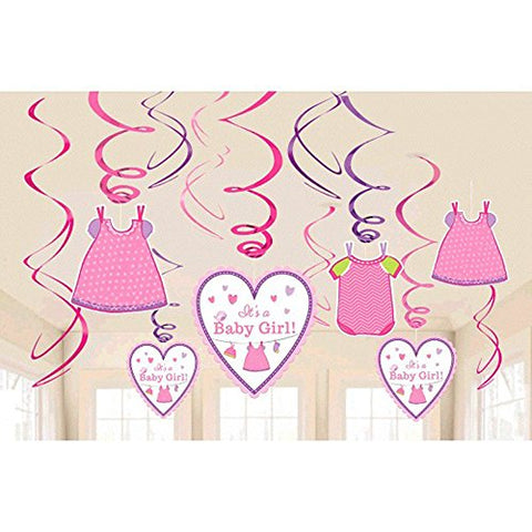 Baby Shower 'Shower With Love' Girl Hanging Swirl Decorations (12Pc)