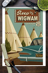 Holbrook, Arizona - Route 66 - Wigwam Village Motel (9X12 Collectible Art Print, Wall Decor Travel Poster)