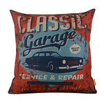 Linkwell 18X18 Metal Look Classic Garage Old Car Service Repair Burlap Cushion Covers Pillow Case