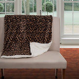 Lavish Home Throw Blanket, Fleece/Sherpa, Leopard
