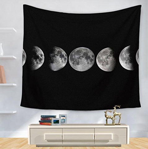 White And Black Moon Decor Indian Tapestry Wall Hanging Beach Throw , 150200