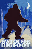 Watch For Bigfoot - Wpa Style (12X18 Art Print, Wall Decor Travel Poster)