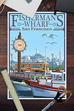San Francisco, California - Fisherman'S Wharf (12X18 Art Print, Wall Decor Travel Poster)