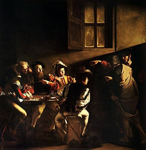 The Calling Of Saint Matthew - Masterpiece Classic - Artist: Caravaggio C. 1599 (12X18 Collectible Art Print, Wall Decor Travel Poster)