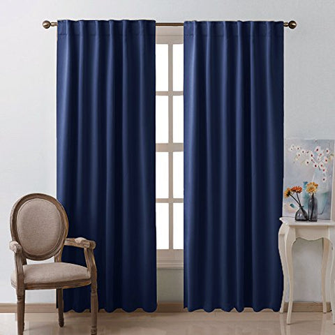 Window Treatment Blackout Curtains And Draperies - (Navy Blue Color) 52W By 95L Each Panel, Set Of 2 Panels, Blackout Drape Panels For Nursery By Nicetown
