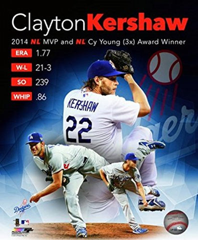 Clayton Kershaw 2014 National League Mvp & Cy Young Award Winner Portrait Plus Sports Photo (8 X 10)