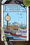 San Francisco, California - Fisherman'S Wharf (9X12 Art Print, Wall Decor Travel Poster)