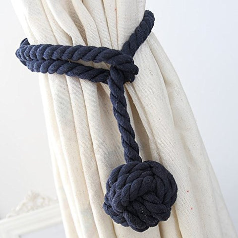 Loghot Hand Knitting Curtain Rope Cord Rural Cotton Tie Backs With Single Ball (Navy Blue) By Loghot