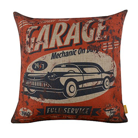 Linkwell 18X18 Metal Look Garage Full Service Old Car Burlap Cushion Covers Pillow Case