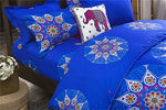 La Mejor Queen Size Microfiber Bohemia Exotic Patterns Duvet Cover Sets Blue And Rosy Red