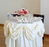 Bride And Groom Wedding Signs For Sweetheart Table Decor - Pvc Signs, Sign Letters Freestanding Bridal Table (6 Inches)