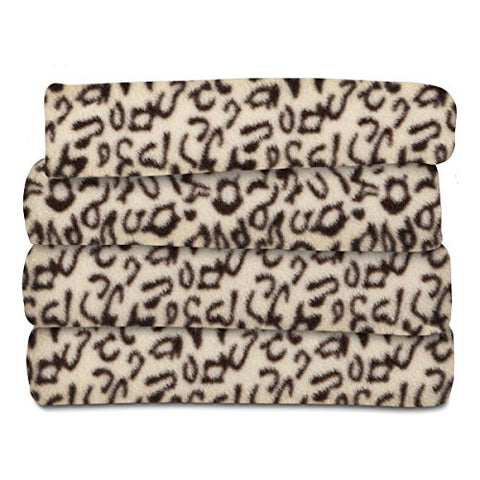 Sunbeam Fleece Heated Throw, Cheetah