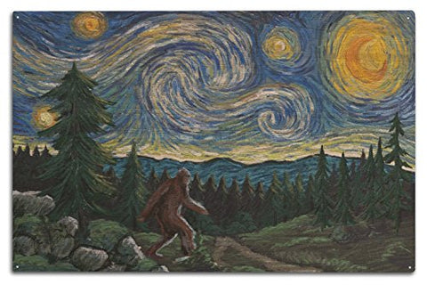 Northwest - Van Gogh Starry Night - Bigfoot (10X15 Wood Wall Sign, Wall Decor Ready To Hang)