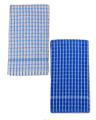 Kuk'S Cuisine Kitchen Towels - Ultra Absorbent - 100% Cotton - Size: Jumbo (25.5 In X 17.7 In) - Aka European Tea Towels, Dish Cloths, Dish Towels - Checkered Pattern - Set Of Two (Blue & White)