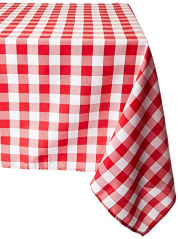 Linentablecloth 70-Inch Square Tablecloth Red & White Checker