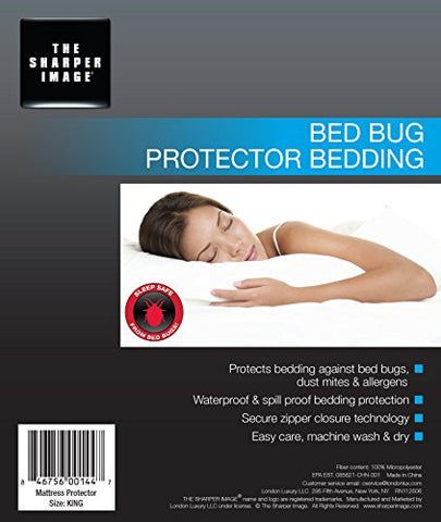 Sharper Image Waterproof, Bed Bug Proof, Dust Mite Proof, Breathable, Zippered Encasement Mattress Protector (King)
