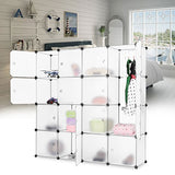 Langria 16-Cube Diy Modular Shelving Storage Organizing Closet With Translucent Doors And Cube Design For Clothes, Shoes, Toys(White)
