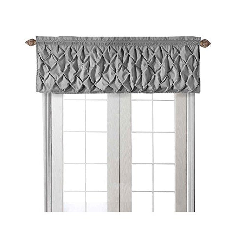 Vcny Home Carmen Tailored Window Valance, Window Treatment, 60 X20, Gray