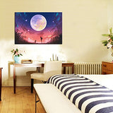 Live Art Decor - Full Moon Canvas Wall Art,Young Woman And Dog At Beautiful Night Landscape Canvas Prints Decor Art,Fairy Pictures Framed Easy Hanging,Modern Home Decoration,-24X 36