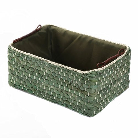 Kingwillow,Woven Maize Straw Storage Baskets&Bins With Handle( Rectangular,Green Small:12.60Lx8.66Wx5.51H)