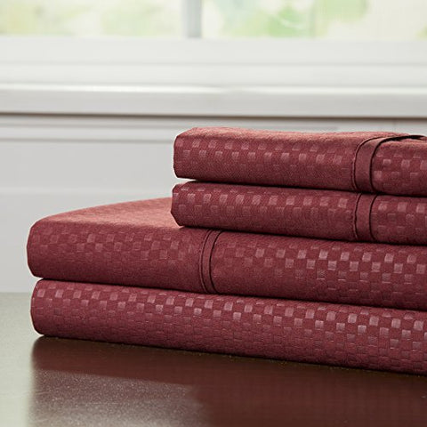 Lavish Home Embossed Sheet Set, Burgundy, Queen