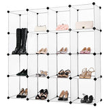 Langria 16-Cube Muti-Use Shoe Rack, Bedroom Storage Cabinet Open Closet Diy Modular Shelving Organizing With Translucent Panel Design For Clothes, Shoes, Toys(White)