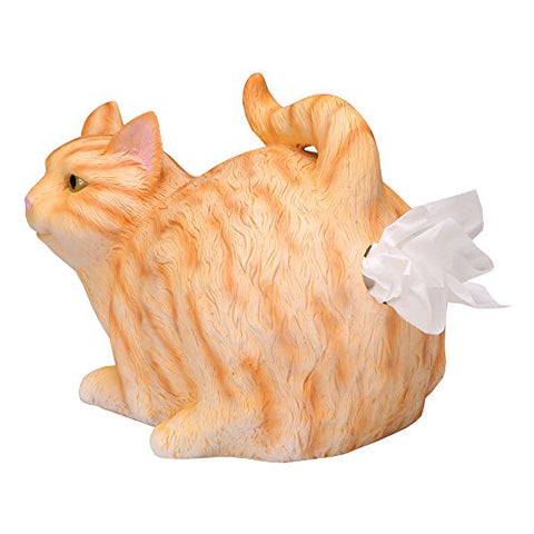 Funny Orange Tabby Cat Tissue Holder