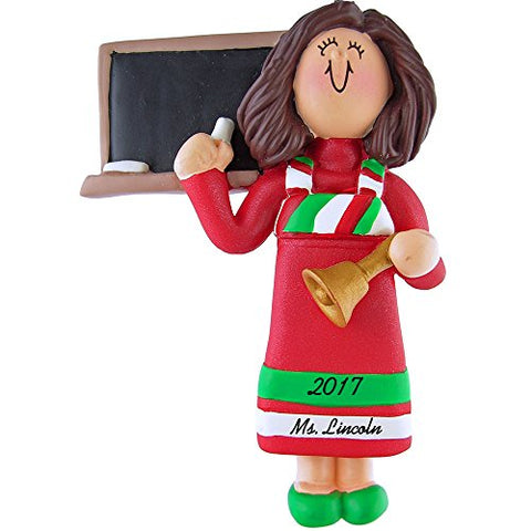 Teacher Personalized Christmas Ornament - Female Brown Hair With Red Dress - Handpainted Resin - 4  Tall - Free Customization