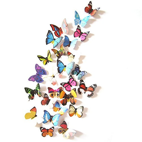 Livegallery 24 Pcs Removable 3D Pvc Colorful Butterfly Wall Decals Diy Home Art Decor Decorations Multicolor Butterflies Wall Stickers Murals For Kids Rooms Girls Babys Bedroom Living Room Offices