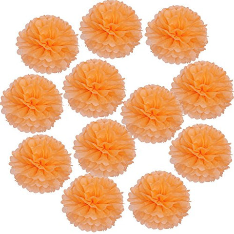 Landisun 10 Inch Tissue Paper Flower Poms For Wedding Birthday Room Decoration (12 Pcs, Orange)