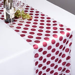 14 X 108 In. Polka Dot Satin Table Runner White / Burgundy