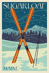 Sugarloaf, Maine - Crossed Skis - Letterpress (16X24 Giclee Gallery Print, Wall Decor Travel Poster)