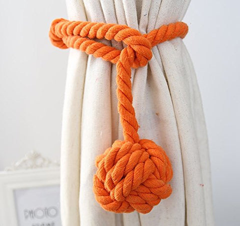 Loghot Hand Knitting Curtain Rope Cord Rural Cotton Tie Backs With Single Ball (Orange)