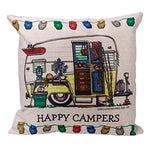Landfox  Happy Campers  Pillow Case Cushion Cover 18  X 18