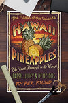 Hawaiian Pineapple Vintage Sign (12X18 Art Print, Wall Decor Travel Poster)