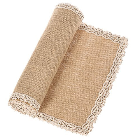Ling'S Moment Burlap Cream Lace Jute Table Runner Rustic Country Wedding Decoration Farmhouse Decor Kitchen Table Cover 12X108 Inch