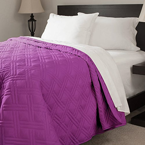 Lavish Home Solid Color Bed Quilt, Twin, Purple