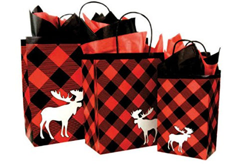 Cakesupplyshop Christmas Holiday Lumberjack Red & Black Buffallo Plaid Collection (6Pack Gift Bags)