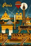 Paris, France - Retro Skyline (12X18 Art Print, Wall Decor Travel Poster)