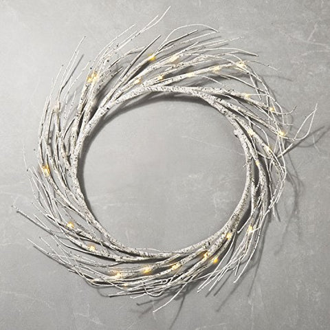 16 Birch Wreath With 60 Built-In Leds, Warm White Ambience, 2200 Kelvin, Timer & Batteries Included, Indoor/Outdoor, Portable, Rustic Themed